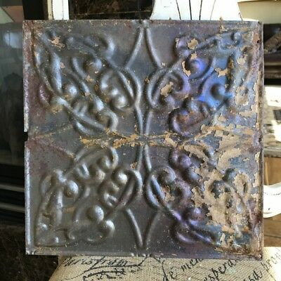 "12"" Antique Tin Ceiling Tile -- Bare Metal (some tan paint) - Pretty Design - A2"