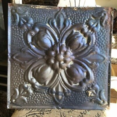 "12"" Antique Tin Ceiling Tile -- Bare Metal - Pretty Flower Design - A1"