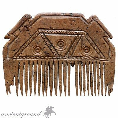 Superb , Hand Made Carved Post Medieval Decorated Mammoth  B0Ne Comb