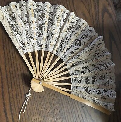"""Beige Cream color lace hand fan 10. 3/4"""" by 19"""" wide. New"""