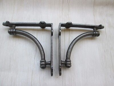 """PAIR OF 5"""" INDUSTRIAL cast iron rustic vintage old shelf support brackets"""