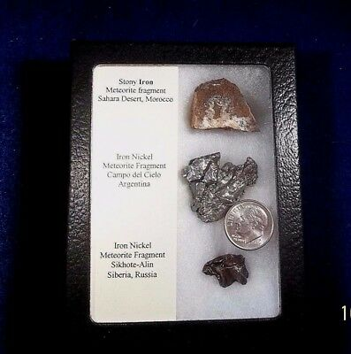 Meteorite sample pack 3 meteorite fragments in collectors box