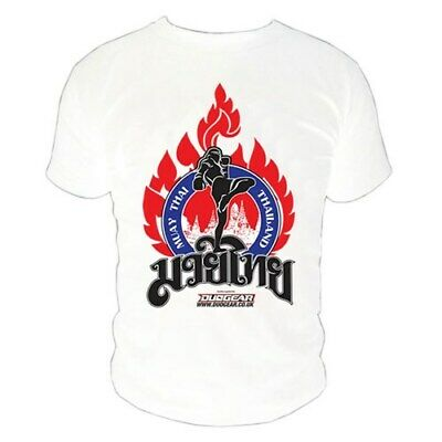 White 'kao' T-Shirt Top For Muay Thai Training And Fighting