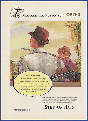 Vintage 1937 STETSON HATS Copper Fielding For Fall Men's Fashion Print Ad 30's