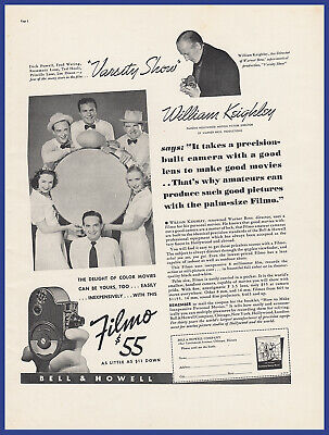 Vintage 1937 BELL & HOWELL Filmo Movie Camera 8MM William Keighley Print Ad