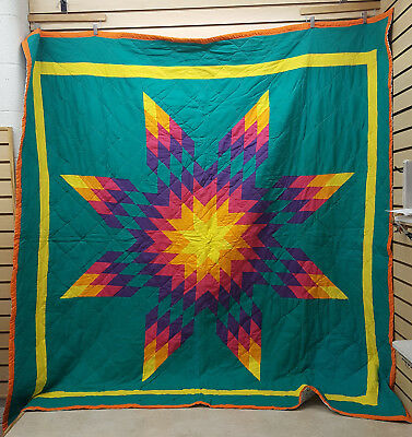 Beautiful Great Condition Homemade Native American Indian Star Quilt Blanket!!