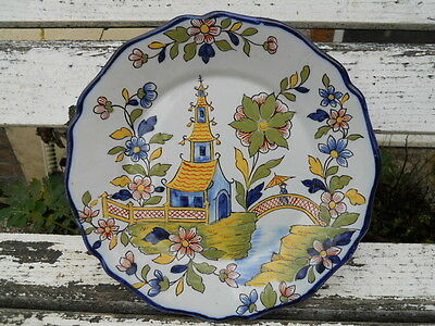 Ancienne assiette charolles décor pagode , signature Molin n° 406