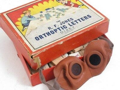 Rare Vintage R.f Jones Orthoptic Letters Dixey Eye Test Game With Goggles