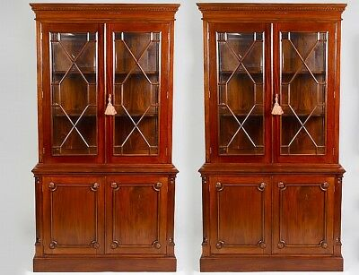 PAIR OF GEORGE III STYLE MAHOGANY BOOKCASE CABINETS Lot 106