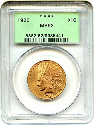 1926 $10 PCGS MS62 (OGH) Old Green Label Holder - Indian Eagle - Gold Coin