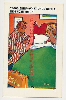 Old Saucy Postcard Just Married Shoe Horn  Sapphire Quip 52 Unposted AM453