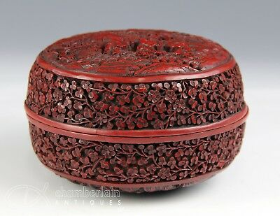Old Chinese Carved Lacquer Cinnabar Round Covered Box With Nice Detail
