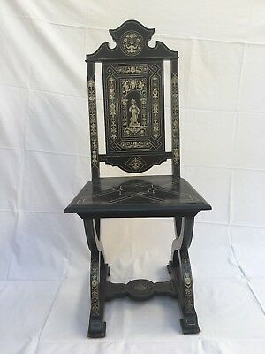 Antique Milanese Ebonized wood with bone Inlay Renaissance chair, late 19th