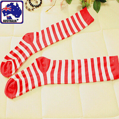 2 Pairs Red And White Child Girl Striped  Socks High Leg Thigh  CSOCK 0591 x2