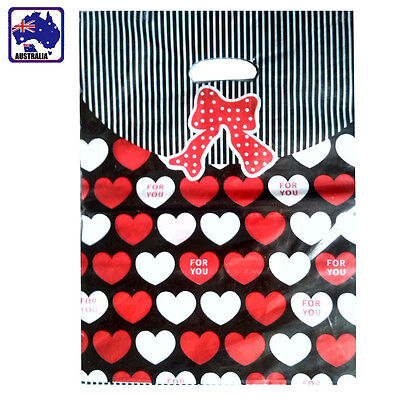 50PCS 25x35cm Plastic Bag Die Cut Handle Wrapping Red Heart Bowtie WSHOP2532x50