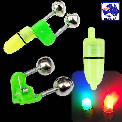 5x Fishing Rod Bite Alarm Bell Clip with Glow Stick Light Fishing Tackle OFISP09