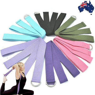 5x 20x 50x Yoga Stretch Strap D-Ring Belt Figure Waist Fitness Training OYSTR 35
