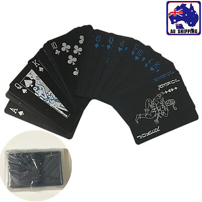 Black Plastic PVC Poker Waterproof Magic Playing Cards Game Home Party GSPO76706