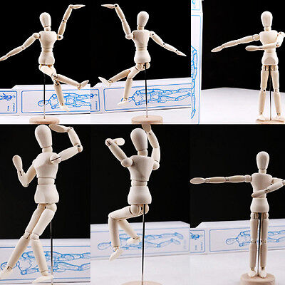1pc Wooden Manikin Figures Jointed Doll Painting Artist Drawing Sketch Model