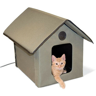 """NEW Cat House Heated Outdoor Kitty Bed Pet Warm Shelter Electric 22""""Lx18""""Wx17""""H"""