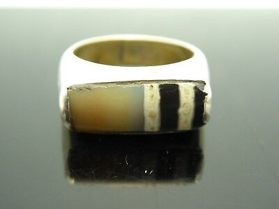 Vintage Tibetan Old Dzi Bead Agate Two Stripes Silver Plated Ring Size 6.75