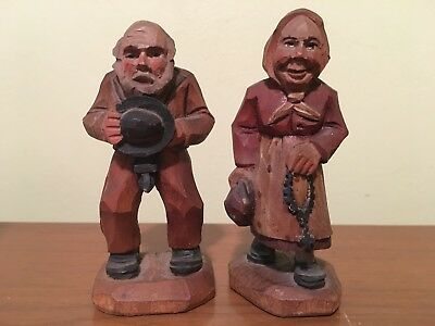 2 Vintage Italy Hand Carved Wood Old Man & Woman Figures