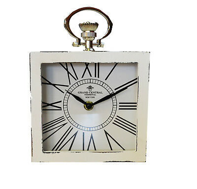 Grand Central Watch Table Clock Mantel Floor Wood Shabby Chic Country Vintage
