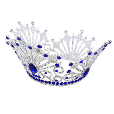 Prom Royal Blue Crystal Tiaras Earrings Queen Sapphire Wedding Jewelry Set Crown