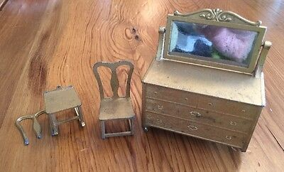 TOOTSIETOY Dollhouse Furniture Mirrored Dresser 2 Chairs Gold Metal Miniatures