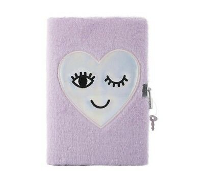 Girls Fluffy Lockable Heart Diary Birthday Christmas Journal lock key Purple