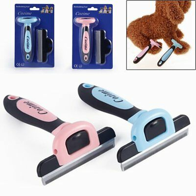 Stainless Steel Deshedding Grooming Tool Pet Fur Brush Comb For Dogs Cats PM