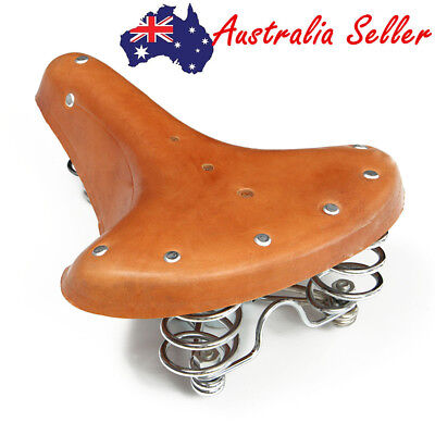 Vintage Genuine Cowhide Leather Bicycle Bike Cycling Saddle Seat With Springs AU