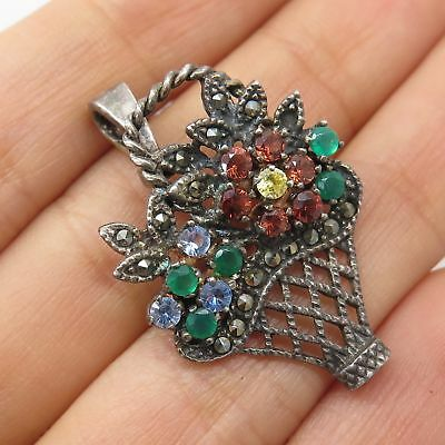 Vtg 925 Sterling Silver Real Multicolor Gem Floral Basket Pendant Pin Brooch