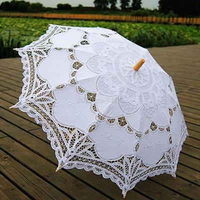 Women Vintage Handmade Parasol Umbrella Cotton Lace Wedding Bridal Accessory USA