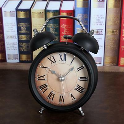 Vintage Bedside Twin Bell Loud Alarm Clock Non-ticking For Bedoom Black B