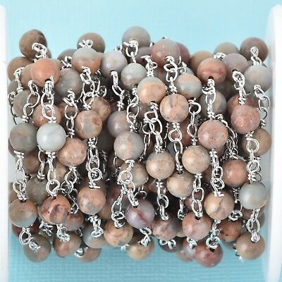 13ft AQUATERRA JASPER Gemstone Rosary Chain double silver 6mm round fch0680b