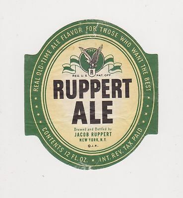 1940s I-R-T-P RUPPERT ALE beer label from NEW YORK!