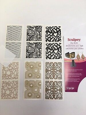 New Sculpey Clay decals jewelery making clay baking  6 designs with scraper