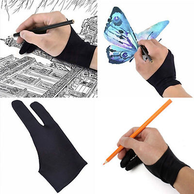 Artist Drawing Glove for Graphics Tablet 2 Finger Anti-fouling Mitten Free Size