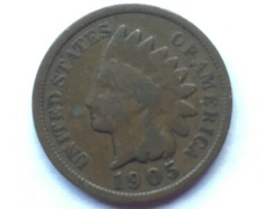 """1905 """"Indian Head"""" US one cent coin.  112 years old."""