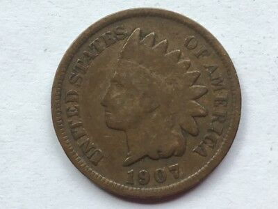 """1907 """"Indian Head"""" US one cent coin. 110 years old."""