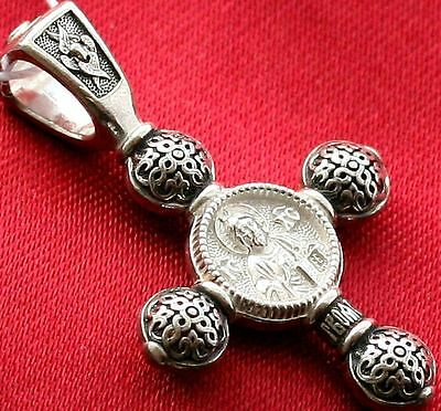 Jesus Christ Virgin Mary Medal Protective Charm Russian Orthodox Silver925 Cross