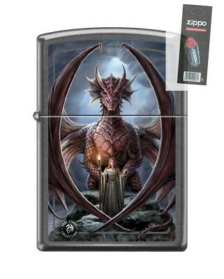 Zippo 2430 Anne Stokes Woman With Dragon Gray Dusk Finish Lighter + FLINT PACK