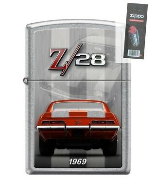 Zippo 4152 Chevy Camaro Z 28 1969 Street Chrome Finish Lighter + FLINT PACK