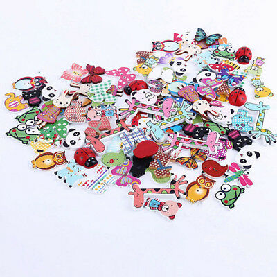 50Pcs Lovely Mixed Animal 2 Holes Wooden Buttons Sewing Craft Scrapbooking DIY