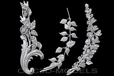 3D Model STL for CNC Router Engraver Carving Artcam Aspire Leaf Flowers c113