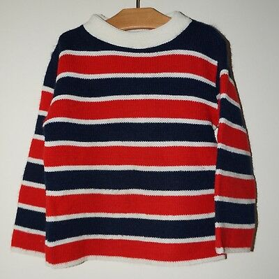 Vintage 1950s 1960s GRANTOGS Boys Acrylic Red White & Blue Sweater Size 6