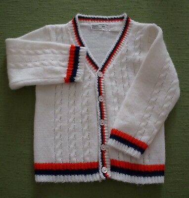 Vintage 1960s SEARS Baby / Toddler Boys Red White & Blue Cardigan