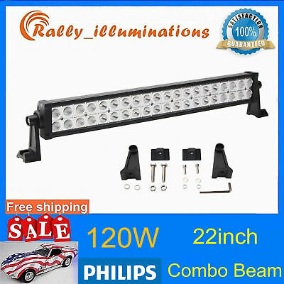 7D LENS 22Inch 270W LED Light Bar Flood Spot Driving Car Truck PHILIPS Slim 120w