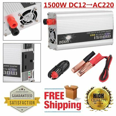 1500W Converter Power Inverter DC 12V To AC 220V 230V Vehicle Invertor USB UK